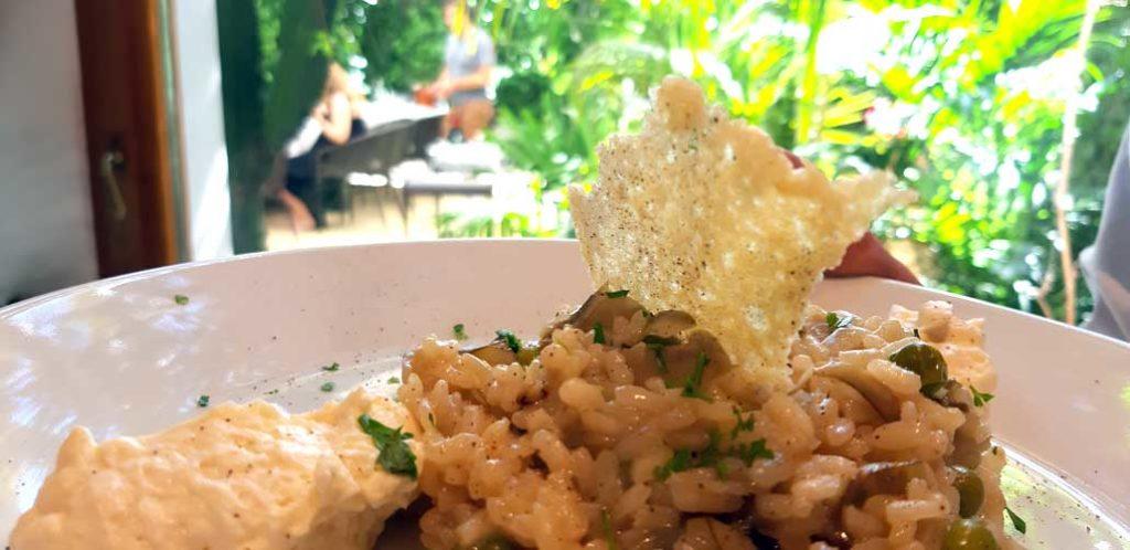 Risotto con alcachofas, espuma de mascarpone y crujiente de parmigiano